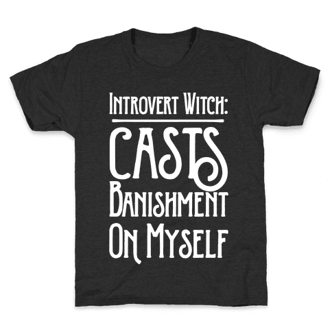 Introvert Witch White Print Kids T-Shirt