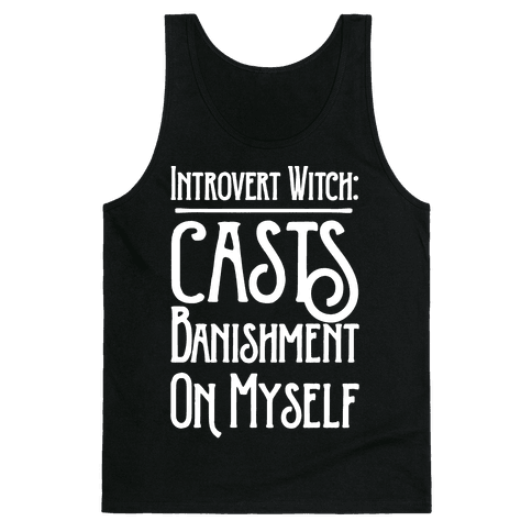 Introvert Witch White Print Tank Top