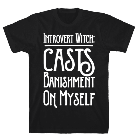 Introvert Witch White Print Mens T-Shirt