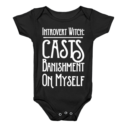 Introvert Witch White Print Baby Onesy