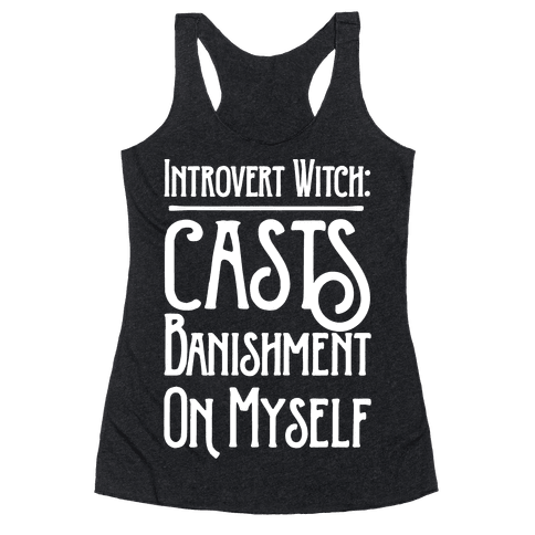 Introvert Witch White Print Racerback Tank Top