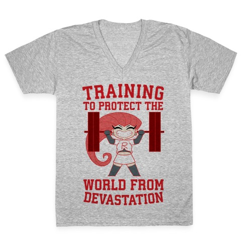 Training To Protect Our World From Devastation V-Neck Tee Shirt