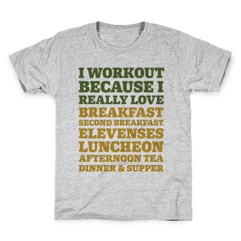 I Workout Because I Love Eating Like a Hobbit Kids T-Shirt