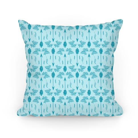 Blue Floral Arrow Pattern Pillow