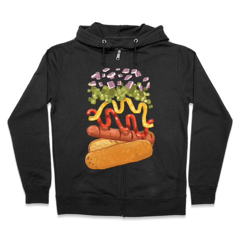 Anatomy Of A Hot Dog Zip Hoodie