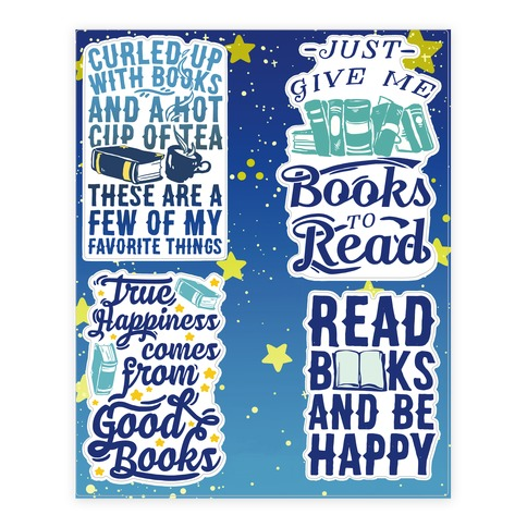 Read Books And Be Happy  Sticker/Decal Sheet