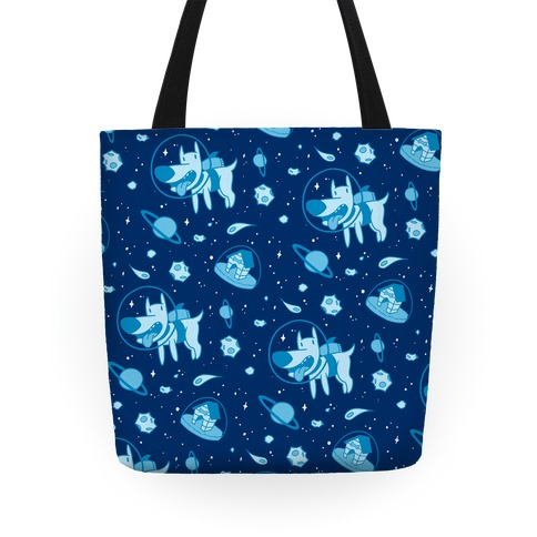 Blast Off Space Dog Tote