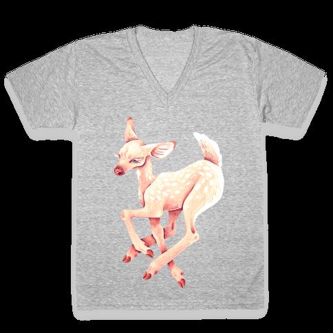 Peaceful Fawn V-Neck Tee Shirt
