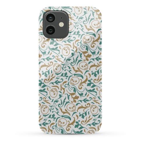 Filigree Flowers and Skulls Pattern Phone Case
