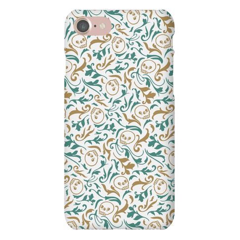 Filigree Flowers and Skulls Pattern Phone Case