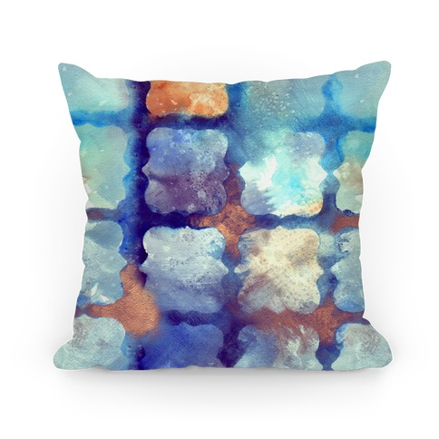 Watercolor Rainbow Texture Pattern Pillow