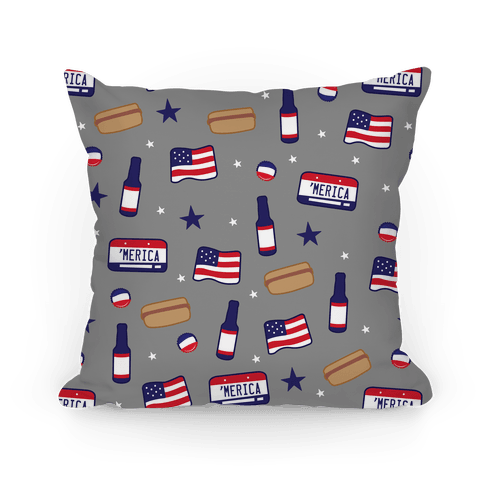 Americana Pattern (Gray) Pillow