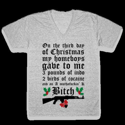 Christmas In The Hood V-Neck Tee Shirt