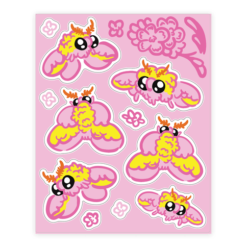 Rosy Maple Moths  Sticker/Decal Sheet