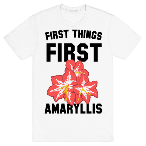 First Things First Amaryllis Mens T-Shirt