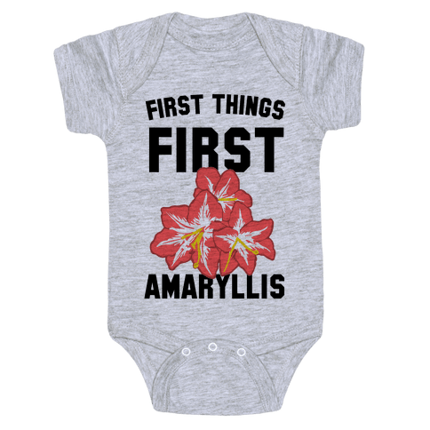 First Things First Amaryllis Baby Onesy