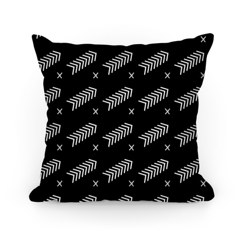 Black Abstract Chevron Pattern Pillow