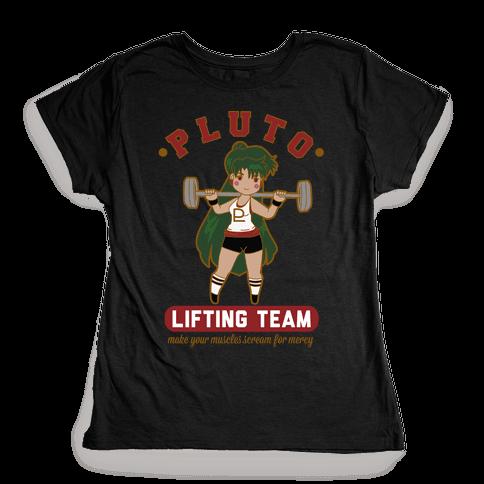 Pluto Lifting Team Parody Womens T-Shirt