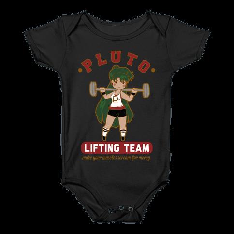 Pluto Lifting Team Parody Baby Onesy