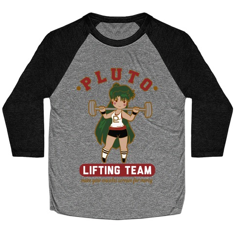 Pluto Lifting Team Parody Baseball Tee