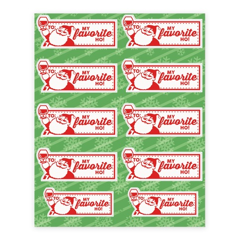 Drunk Santa Gift Label Sticker/Decal Sheet