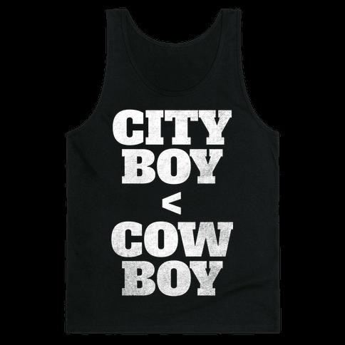 City Boy < Cowboy (White Ink) Tank Top