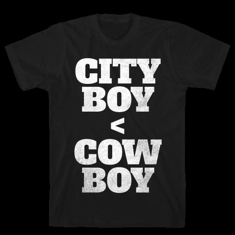 City Boy < Cowboy (White Ink) Mens T-Shirt