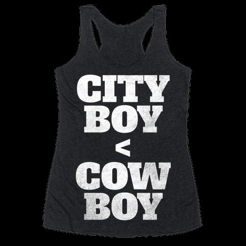 City Boy < Cowboy (White Ink) Racerback Tank Top