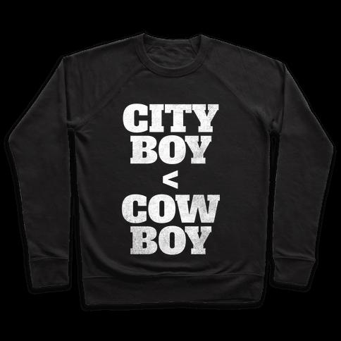 City Boy < Cowboy (White Ink) Pullover