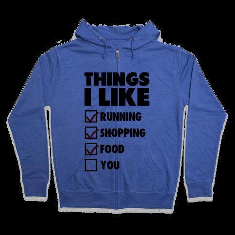 Things I Like Zip Hoodie