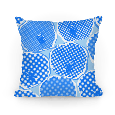 Large Blue Poppy Flower Pattern Pillow