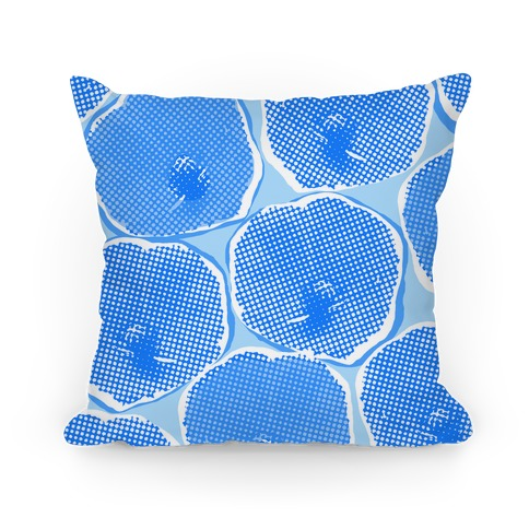 Large Blue Poppy Flower Pattern