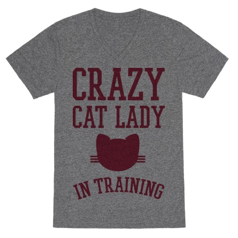 Crazy Cat Lady In Training V-Neck Tee Shirt