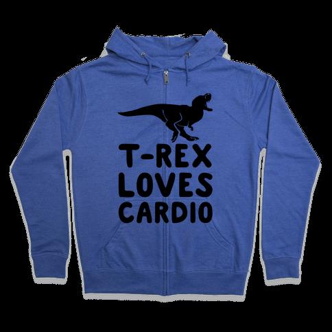T-Rex Loves Cardio Zip Hoodie