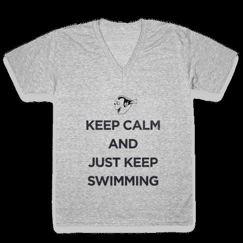 Keep Swimming (Dory) V-Neck Tee Shirt