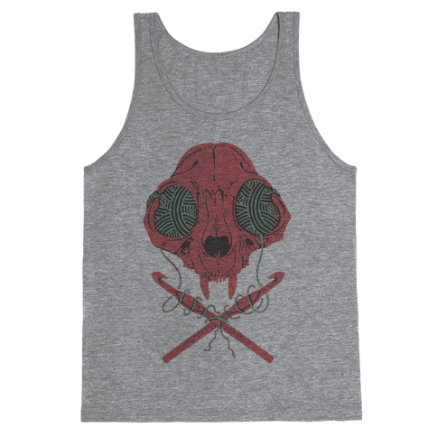 Cat Skull & Crochet Hooks Tank Top