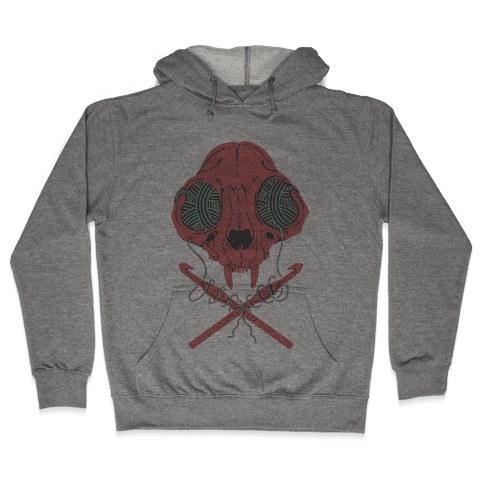 Cat Skull & Crochet Hooks Hooded Sweatshirt