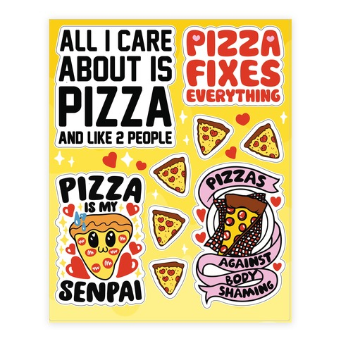 Pizza Love Sticker and Decal Sheet