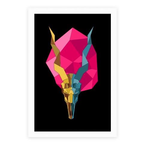 Geometric Blackbuck Skull Poster