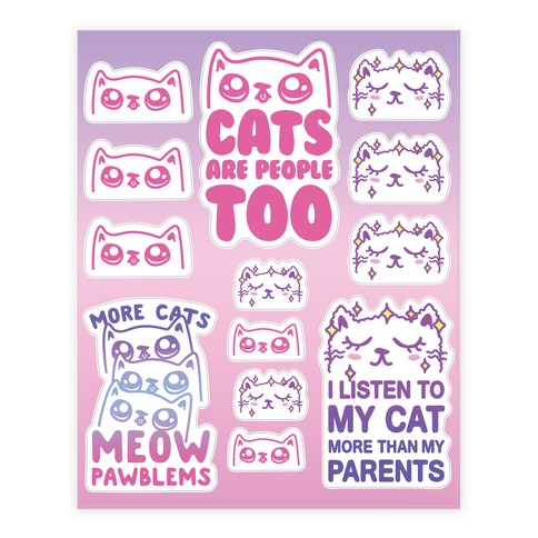 Pastel Cat Sticker and Decal Sheet