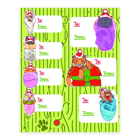 Purrito Gift Tag  Sticker/Decal Sheet