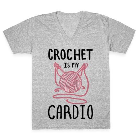 Crochet is my Cardio V-Neck Tee Shirt