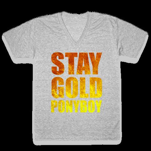 Stay Gold V-Neck Tee Shirt