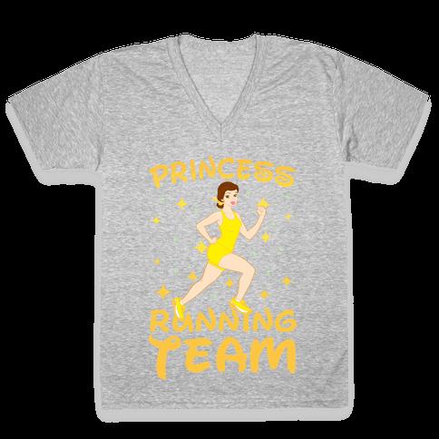Princess Running Team (yellow) V-Neck Tee Shirt