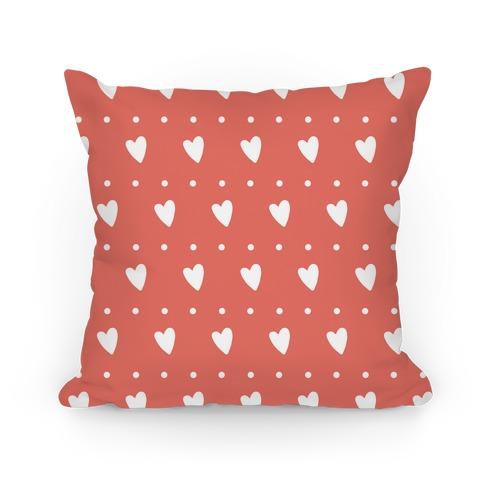 Coral Hearts and Dots Pattern Pillow