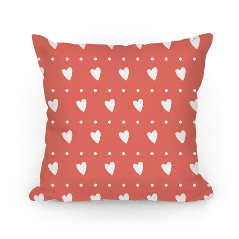 Coral Hearts and Dots Pattern