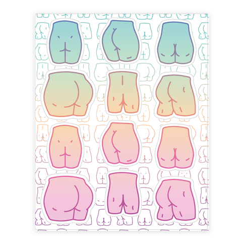 Pastel Butt Sticker and Decal Sheet