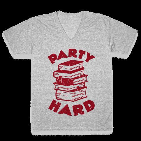 Party Hard (Books) V-Neck Tee Shirt