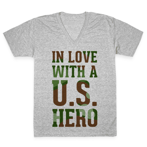 In Love With a U.S. Hero V-Neck Tee Shirt