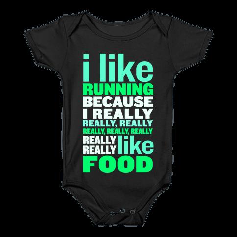 I Like Running (Food) Baby Onesy